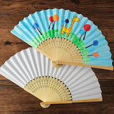 Children blank folding fan hand-made paper fan Chinese wind painting diy material package hand-painted painting folding bamboo fan face