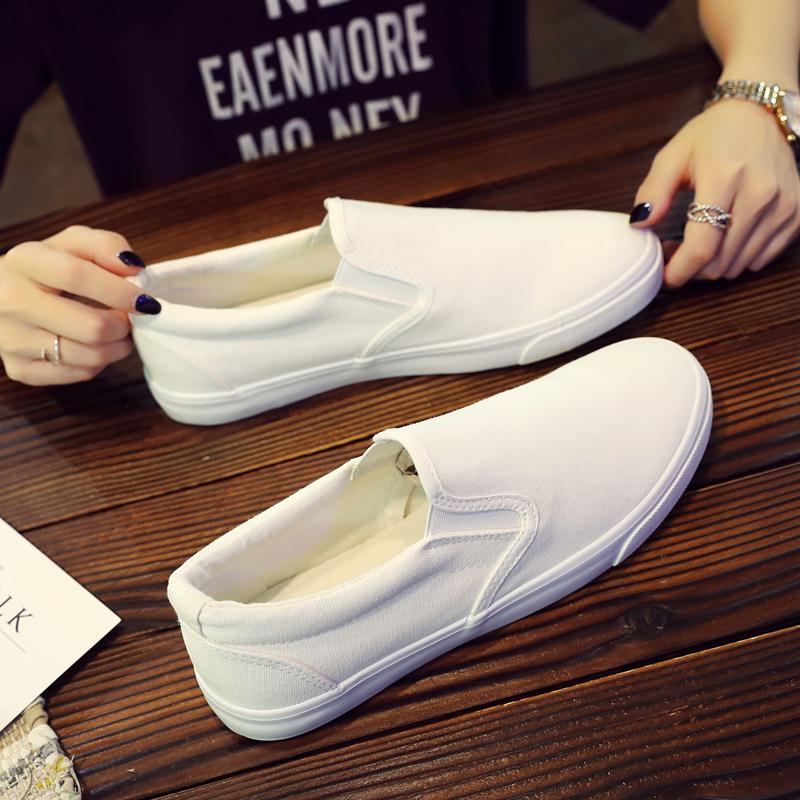 夏季帆布鞋男透气百搭小白鞋一脚蹬懒人白色布鞋潮男社会小伙鞋子