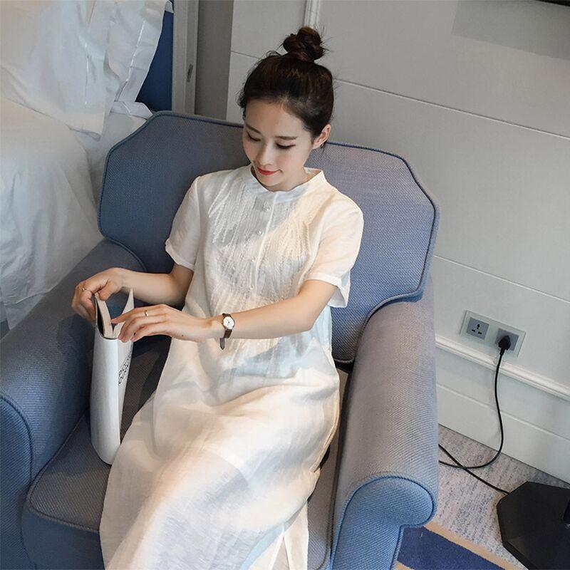 苎麻连衣裙女2019女装新款宽松文艺棉麻长裙夏小清新禅意茶服裙仙