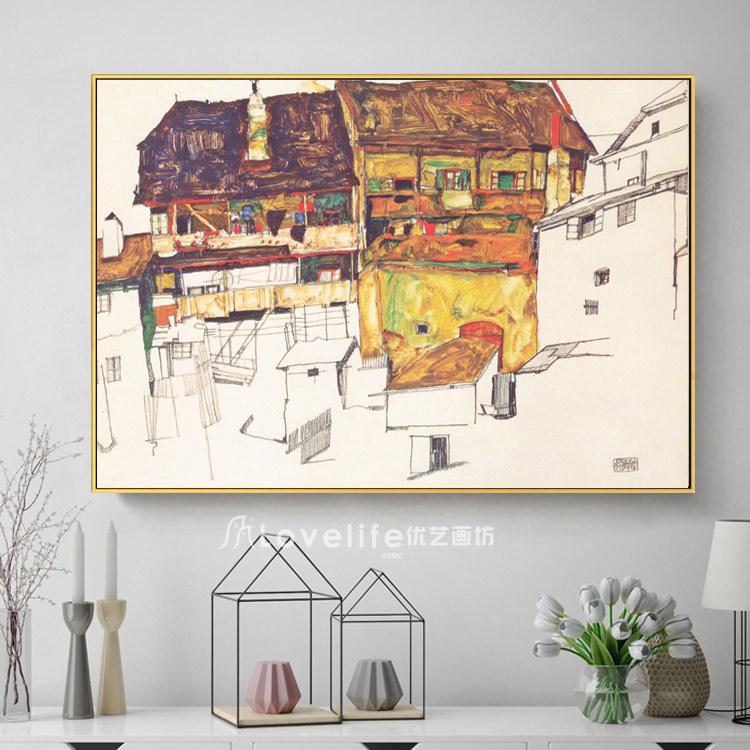 席勒小房子抽象油画壁画无框帆布肌理装饰画玄关书房装饰画壁画