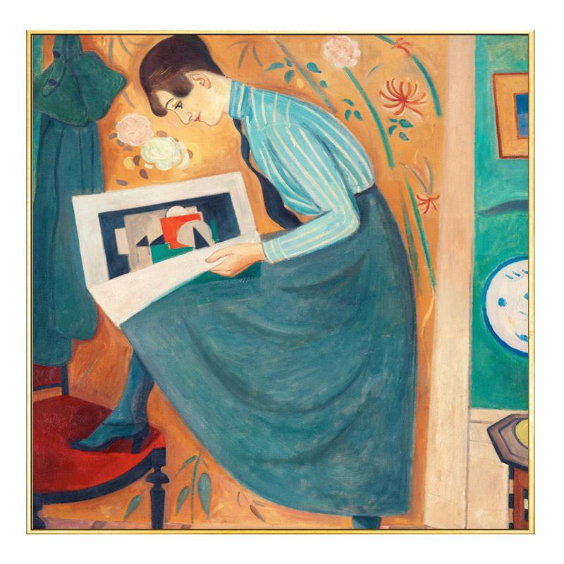 蓝裙少女 欧式古典人物抽象小众卧室床头装饰画玄关走廊油画壁画
