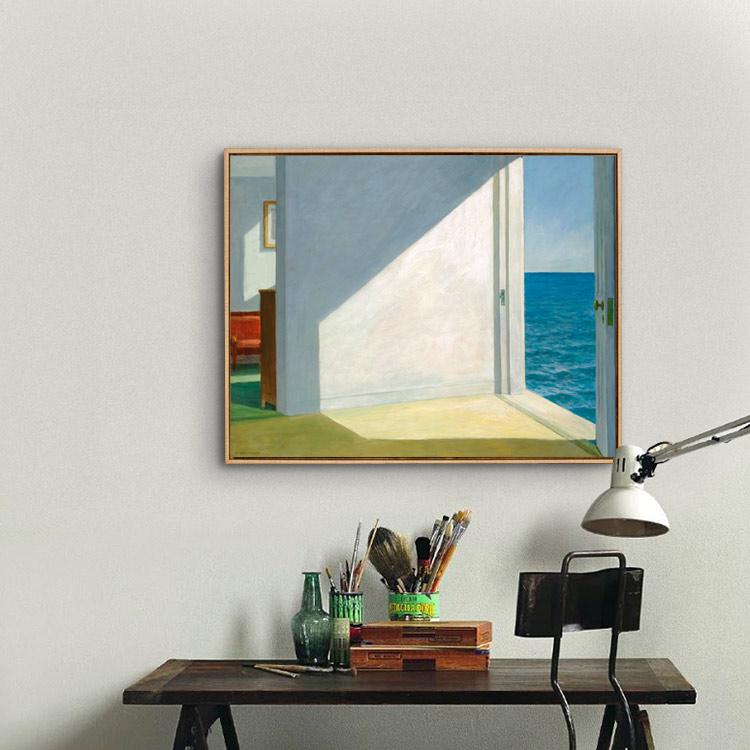 愛德華霍普歐式抽象裝飾畫掛畫壁畫靠海的房間現代裝飾無框油畫