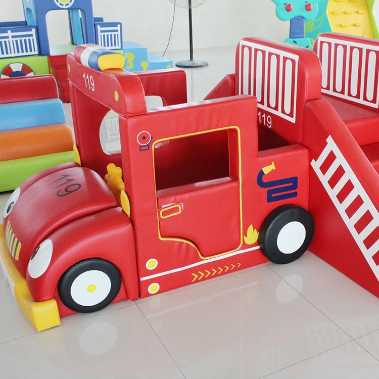 台湾传承 精品牛货消防车游戏中心早教软包滑梯爬滑过家家小屋