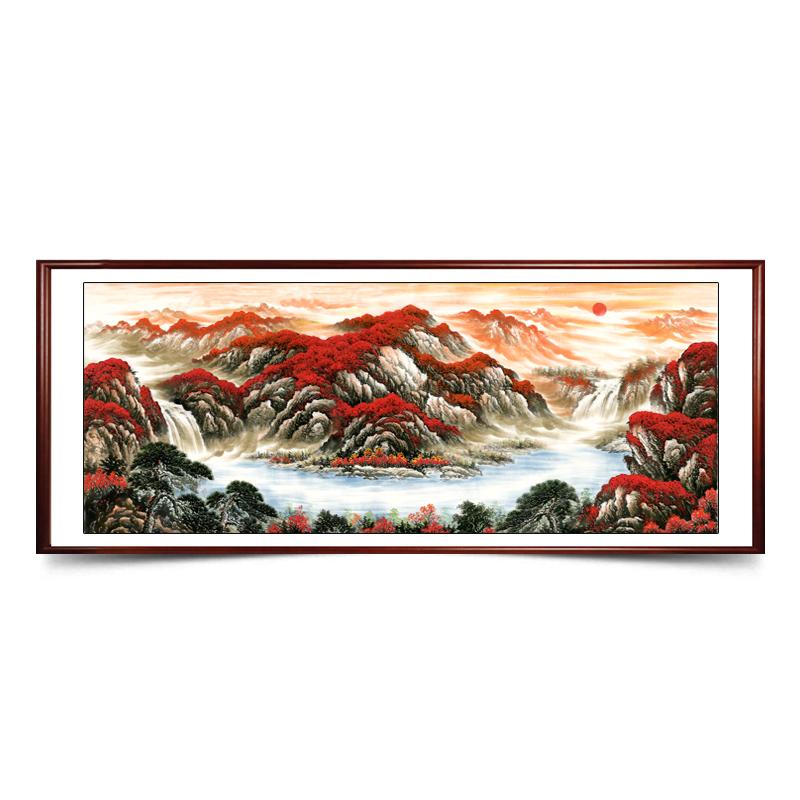 YS-168鸿运当头山水字画中式客厅装饰画芯微喷宣纸喷绘打印靠山画