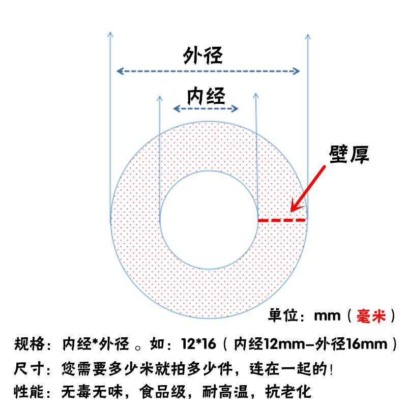 透明硅胶管 硅胶橡管 无味食品级 耐高温 软管  4/6/8/10/12mm