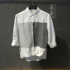 Untie people pure linen retro temperament black and white vertical stripes hit color stitching shirt men's three-quarter sleeves loose summer