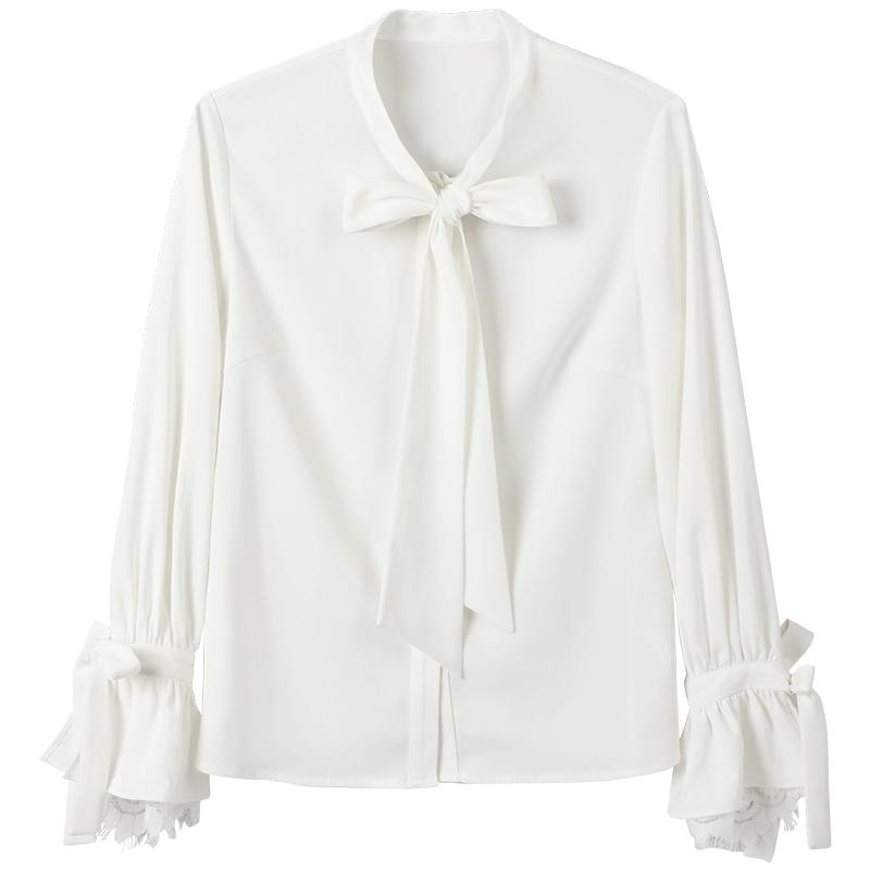 雪纺衬衫女长袖2018秋装新款系带蝴蝶结时尚洋气淑女蕾丝白衬衣