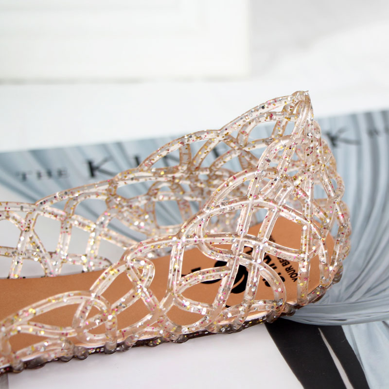 夏季女鞋沙滩平底鸟巢洞洞鞋塑料水晶果冻鞋镂空网状凉鞋妈妈单鞋
