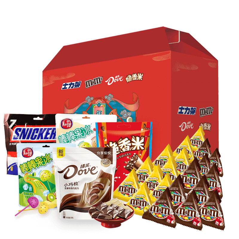 德芙盒盒美美多口味牛奶夹心巧克力士力架 豆大礼包糖利零食礼物  m