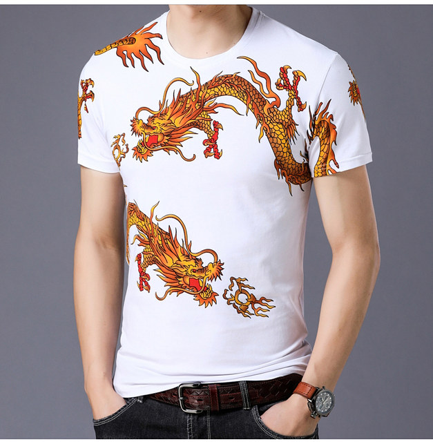 Summer men's printed short-sleeved T-shirt Chinese style floral T-shirt half-sleeved with dragon pattern top half-length clothes tide t