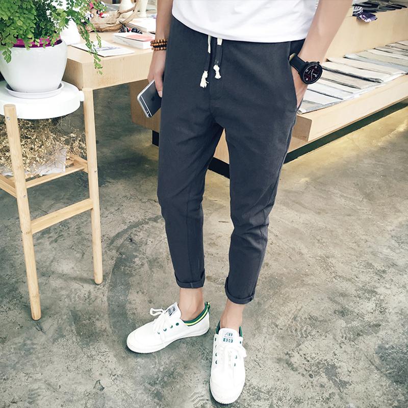 夏季薄款九分裤男韩版潮流 男士小脚哈伦裤修身型休闲裤9分运动裤