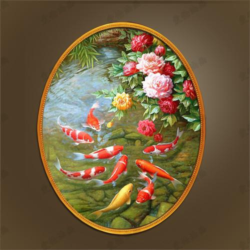新中式牡丹九鱼图手绘油画欧式入户玄关椭圆形装饰画美式走廊餐厅