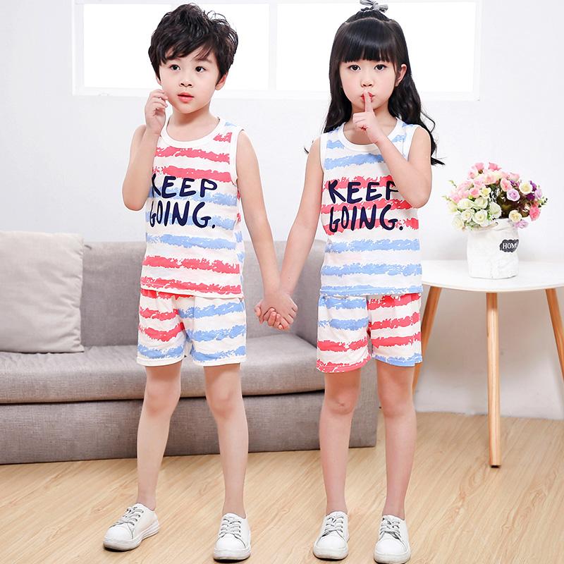 夏季儿童纯棉无袖背心套装男童女童短裤 宝宝小孩子家居服2件套