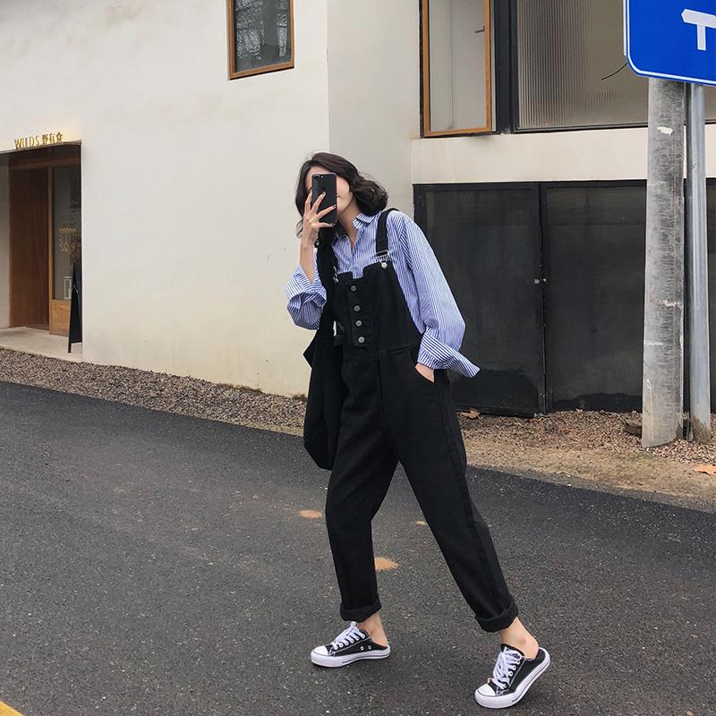 韩版高腰黑色宽松学生显瘦长裤