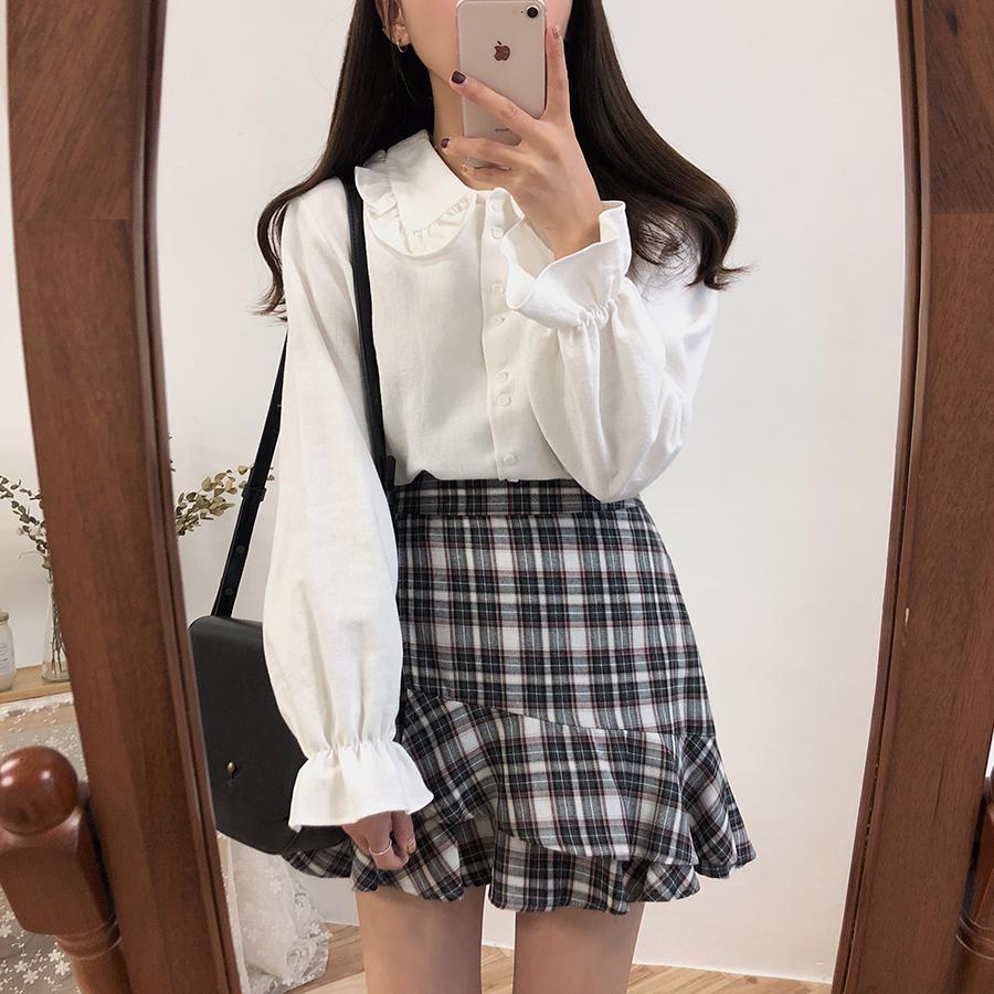 秋季韩版复古设计感小众港味娃娃领百搭白色长袖衬衫女打底衬衣
