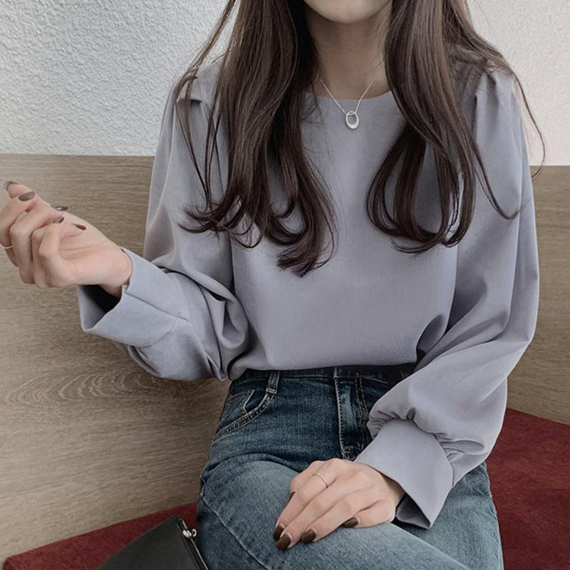 秋装2021新款复古设计感小众百搭圆领泡泡袖衬衫女洋气长袖上衣