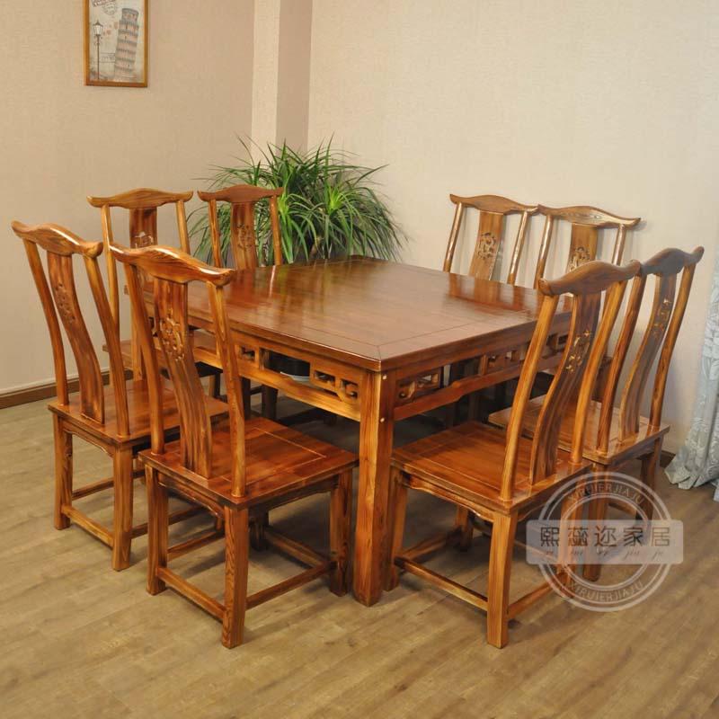 厂家直销餐厅饭店餐桌椅 农家乐仿古桌实木桌椅八仙桌长桌餐桌椅