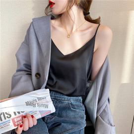 vintage真丝吊带女性感上衣夏宽松外穿无袖打底小背心网红内搭潮