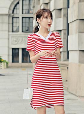 条纹连衣裙夏季2021新中长款V领短袖文艺修身收腰显瘦纯棉T恤长裙