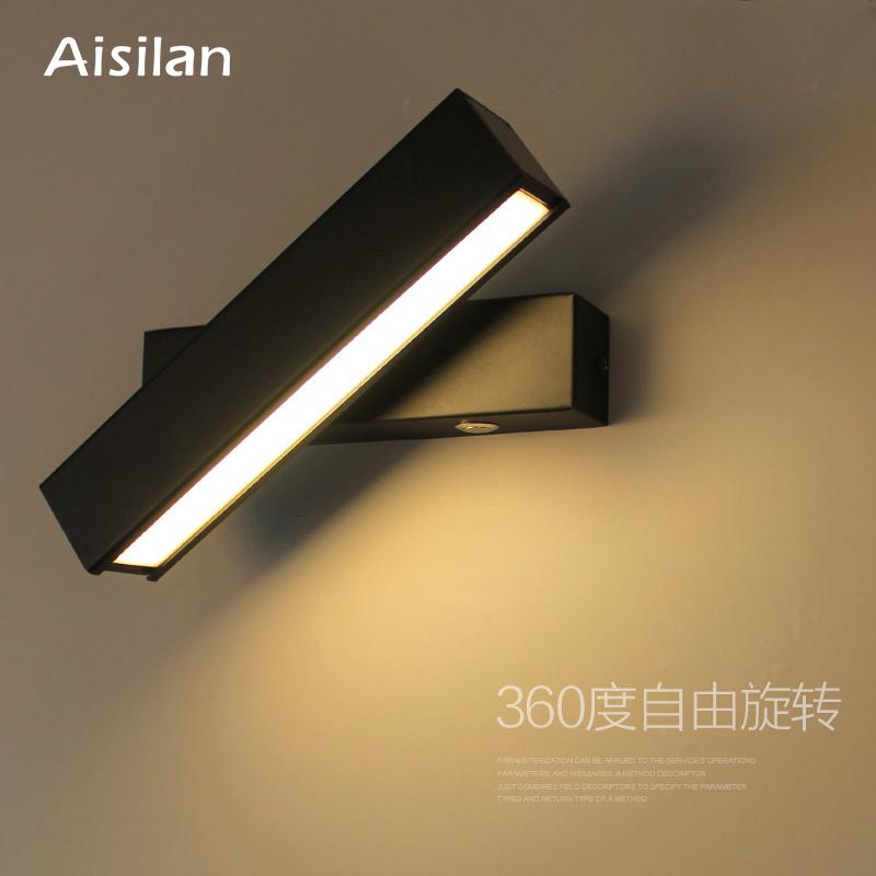 壁灯北欧卧室床头灯过道楼梯旋转墙壁黑色灯具 LED 爱斯兰