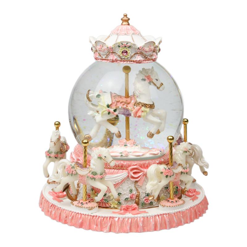 旋转木马水晶球音乐盒八音盒送闺蜜女友公主儿童女孩女生生日礼物
