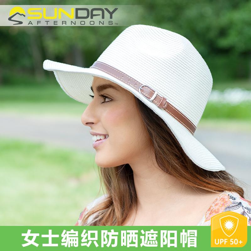 美國Sunday Afternoons女士時尚防晒太陽遮陽帽編織大沿爵士帽
