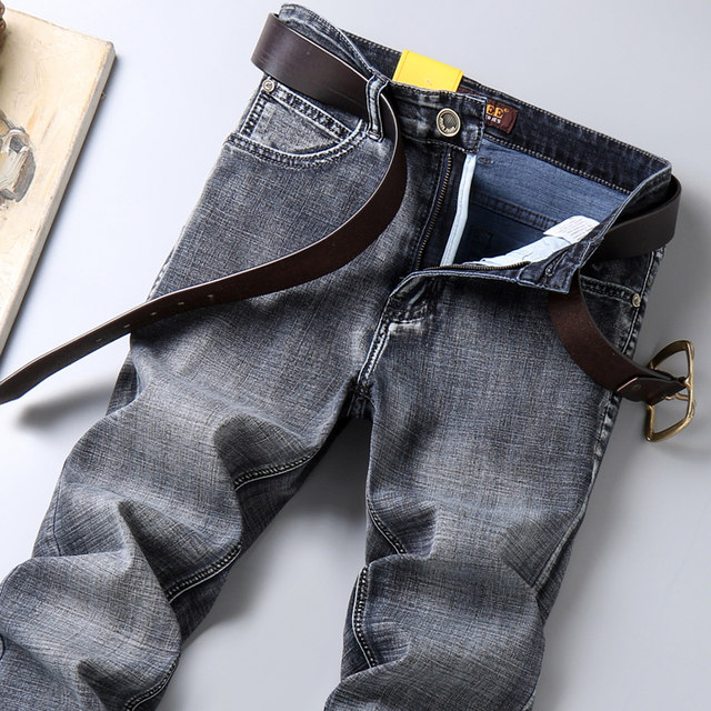 ENKOM LEE jeans men's stretch straight slim mid-waist plus size summer thin smoky gray jeans