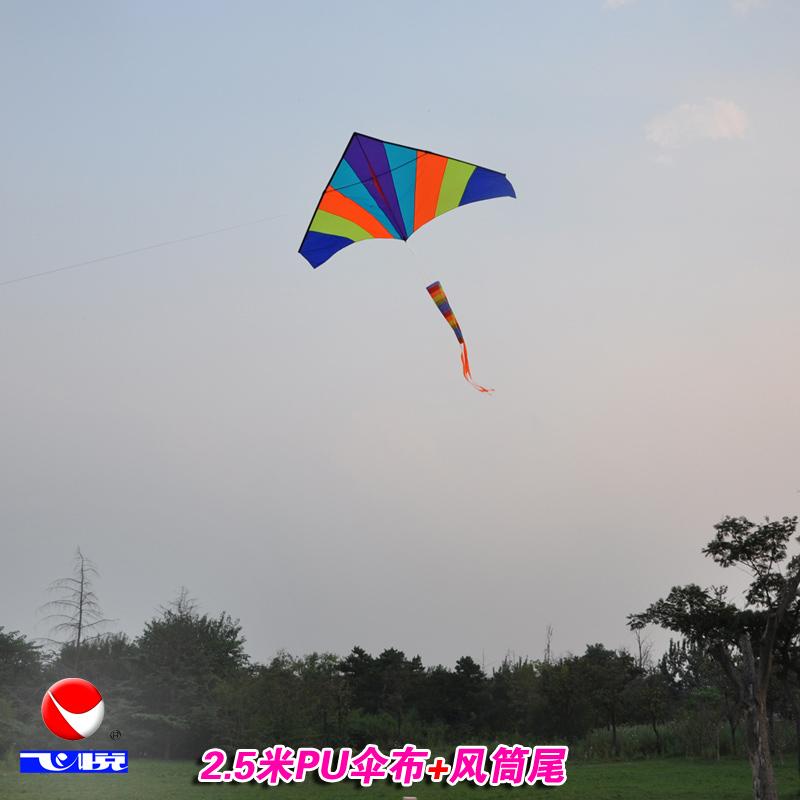 飞悦彩虹风筝长尾儿童大型立体微风易飞潍坊特大成人三角风筝线轮