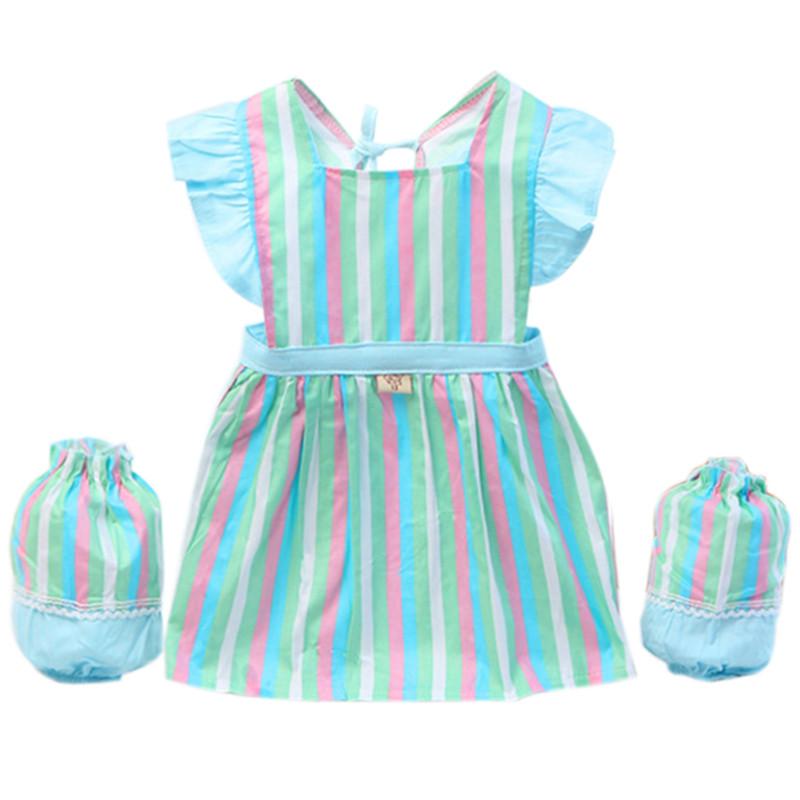 儿童无袖罩衣宝宝围裙纯棉夏季反穿衣加大码全棉吃饭衣防水画画衣