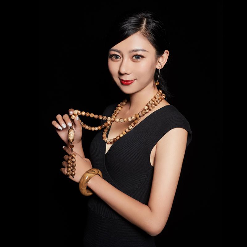 粒圆珠子项手链镯雕刻件吊坠配饰戒板指 缅甸原矿石桶  万福琥珀 108