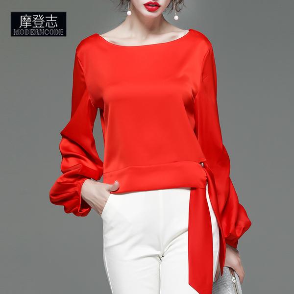 2020秋冬新款女装灯笼袖长袖时尚欧货洋气上衣宽松显瘦气质雪纺衫