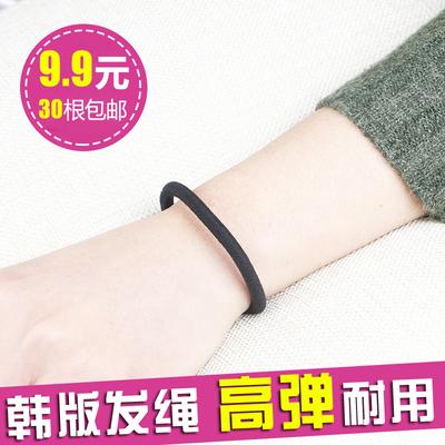 韩国高弹力发绳加粗无接缝发圈黑色橡皮筋扎头发头绳耐用发饰包邮