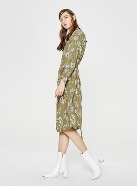 [3件1.5折]MECITY女装修身文艺休闲长款甜美系带小众连衣裙