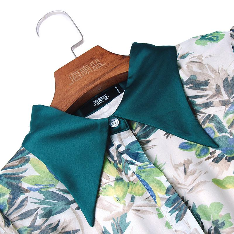 海青蓝气质优雅百褶连衣裙女装夏季2020新款时尚收腰显瘦印花裙子