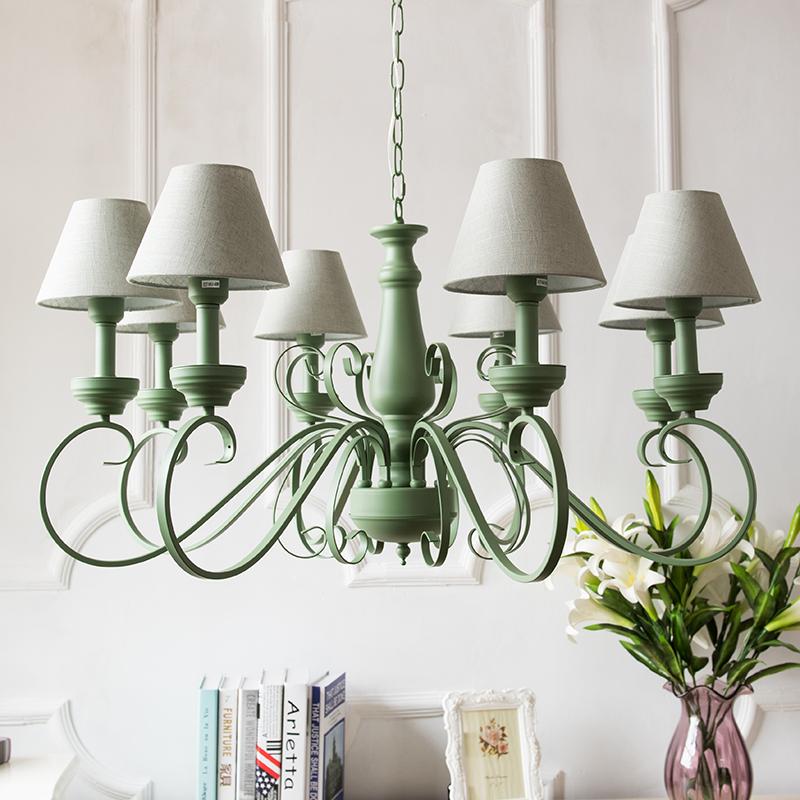 北欧式美式乡村田园地中海客厅卧室绿色简约时尚清新铁艺吊灯