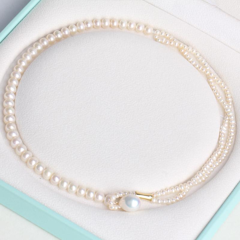 XL846 6mm 3 设计师款淡水珍珠项链 虞女士同款项链