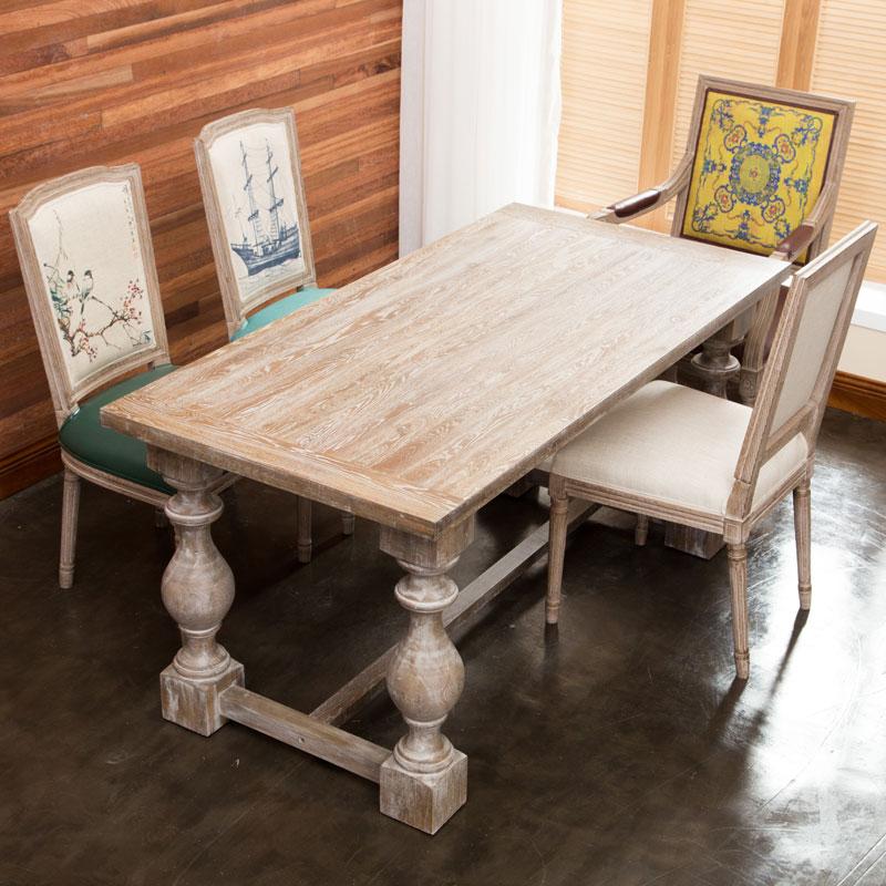 歐式圓形實木餐桌美式鄉村桌復古做舊原木簡約松木長方形桌椅組合