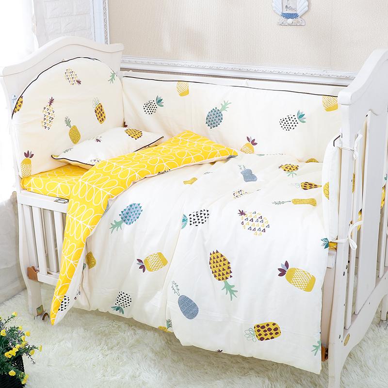 婴儿床床围夏季透气 防撞围床围套卡通风婴儿床上用品四五件套件