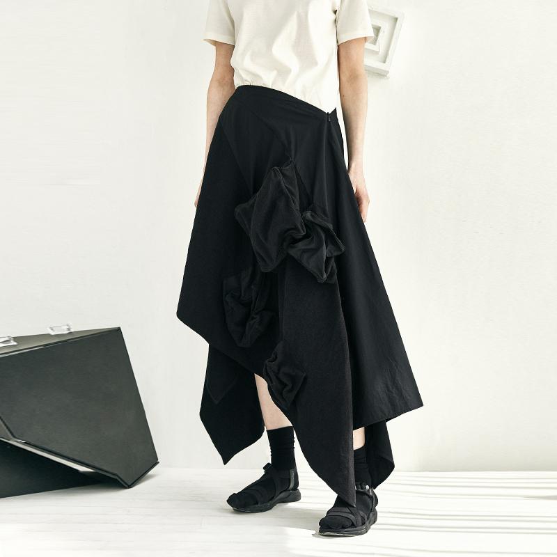 拼接立体不规则方块长裙半身裙