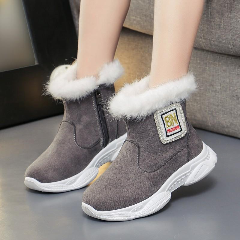 女童棉鞋儿童冬季加绒鞋子