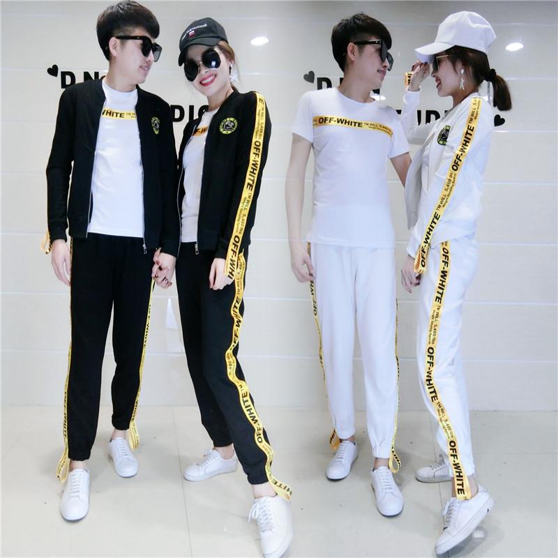 2018夏季新款运动套装女男时尚半袖黄条字母织带裤情侣休闲三件套