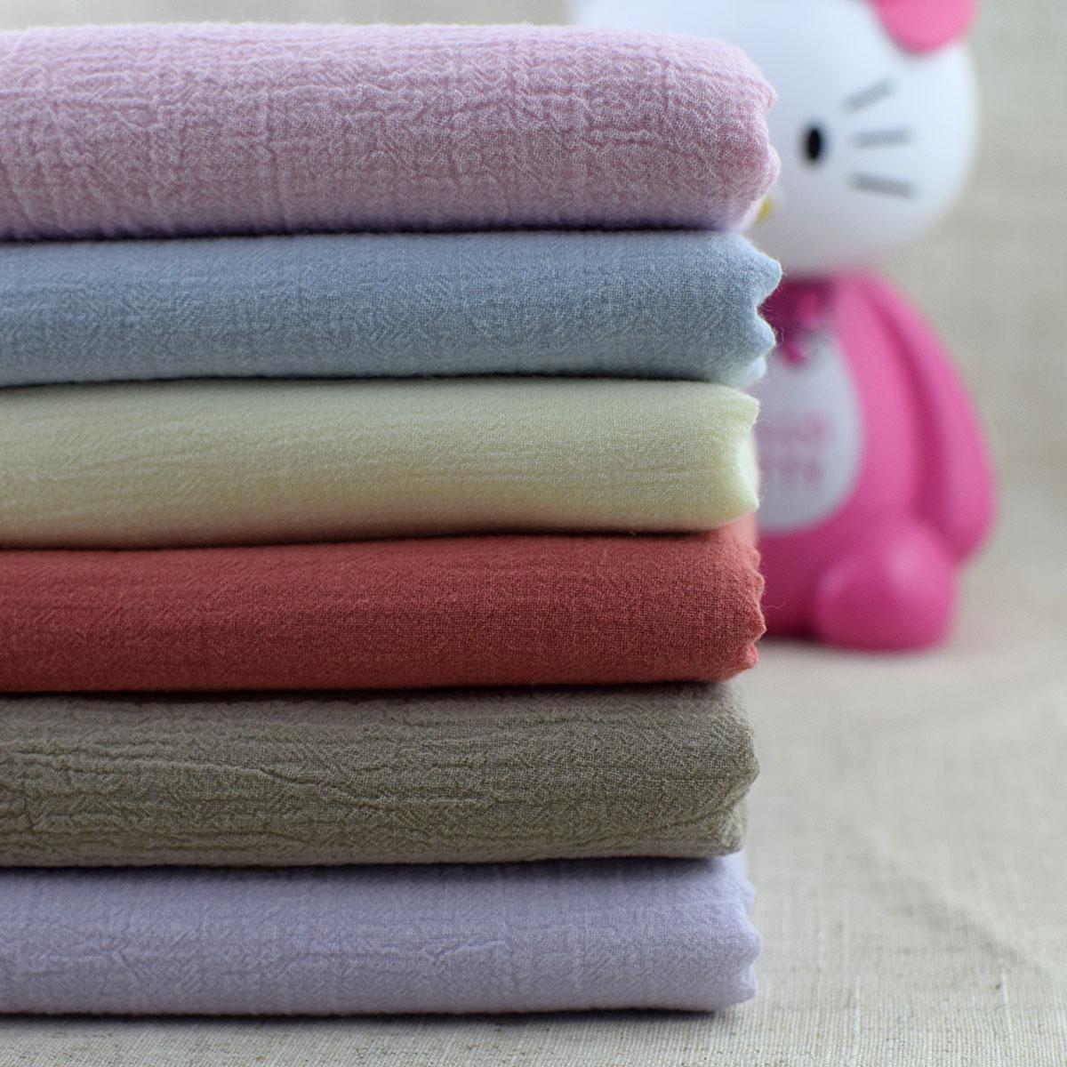 肌理褶皱棉麻纱布绉布宝宝衣服布料亚麻女装裙子围巾窗帘面料包邮