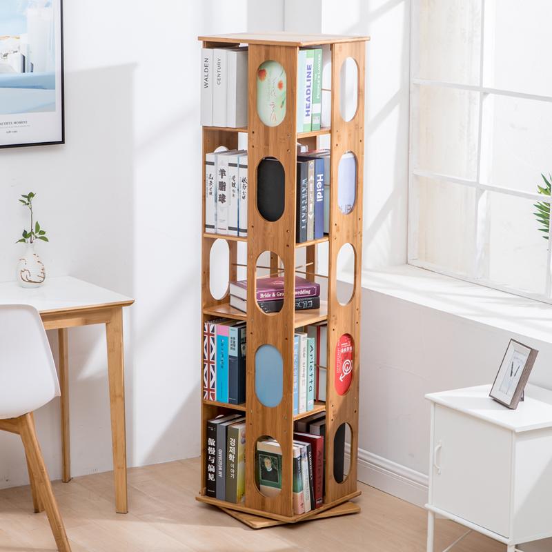 竹庭楠竹旋转书架360度学生现代简易书架创意书柜置物架书架落地