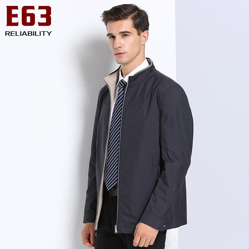E63男士夹克双面外套秋冬季立领休闲运动棒球服商务中年衫爸爸装