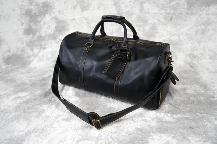 潮流头层牛皮旅行包男复古单肩斜跨旅行袋大容量真皮手提包行李包