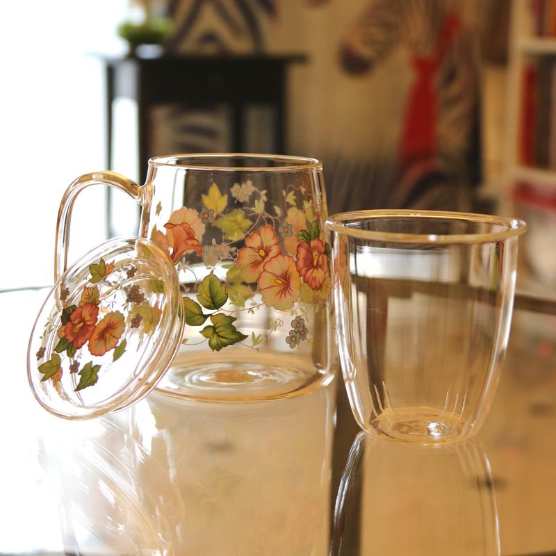 韩国高硼硅玻璃茶水杯 带盖花茶杯手把杯 高档印花耐高温大容量