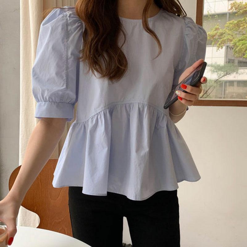 韩国chic夏季极简主义圆领泡泡袖显白娃娃衫上衣宽松短袖衬衫女