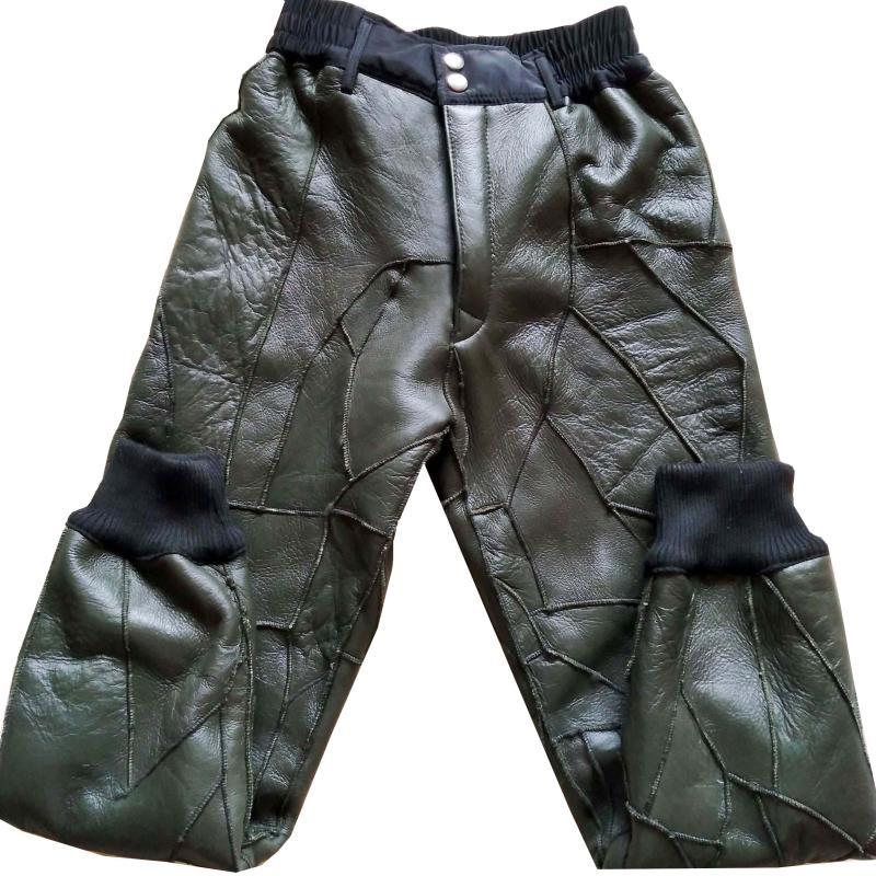 新款中老年羊剪绒皮毛一体裤高腰真皮裤内胆男女羊皮裤保暖棉裤