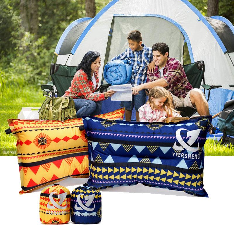 新款出口韓國自動充氣枕印第安便攜野營枕頭民族風帳篷枕旅行枕頭