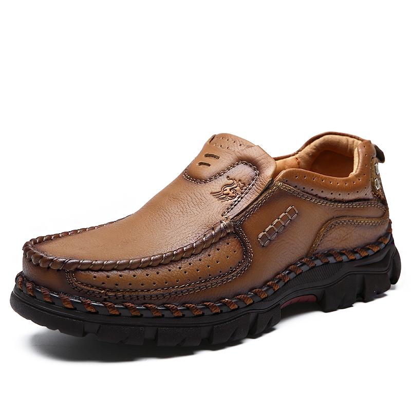 骆驼男鞋春季休闲皮鞋男真皮牛皮圆头透气男士商务爸爸鞋子 保罗